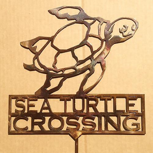 Sea Turtle Crossing Garden Stake (Z7)