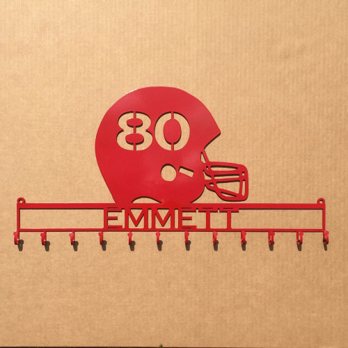 Football Helmet Medal holder with Personalized Text Field and Your Number Cut in the Helmet  (Z26)