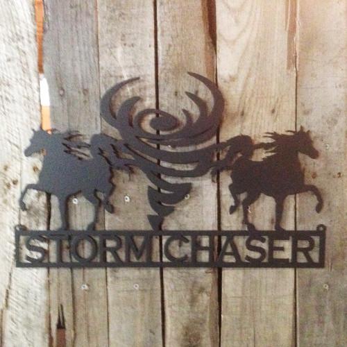 Custom Metal Sign Horses and Tornado (G16)