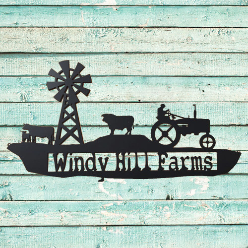 Farm Scene with Tractor and Cows Metal Sign with Custom Text Field (H0)