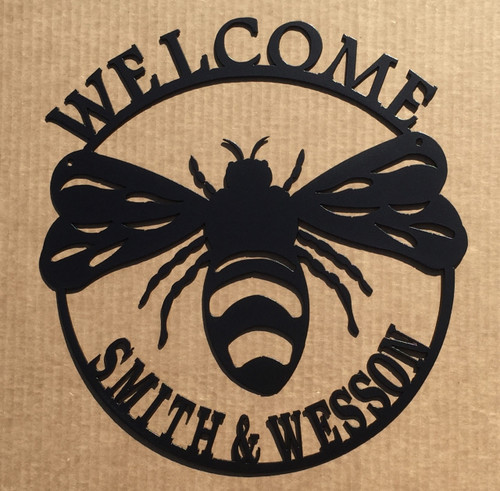 Custom Welcome Bumble Bee Metal Wall Art (G)