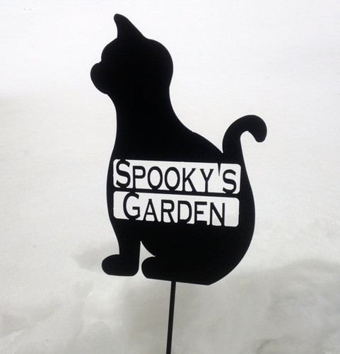 Metal Art Custom Metal Garden Stake Cat (V2)