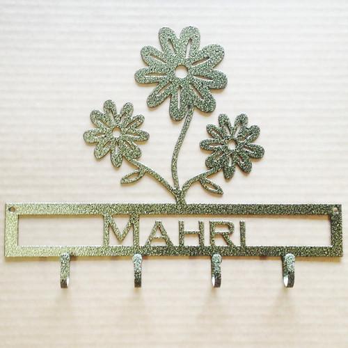 Flower Key Holder with Custom Text Metal (D21)