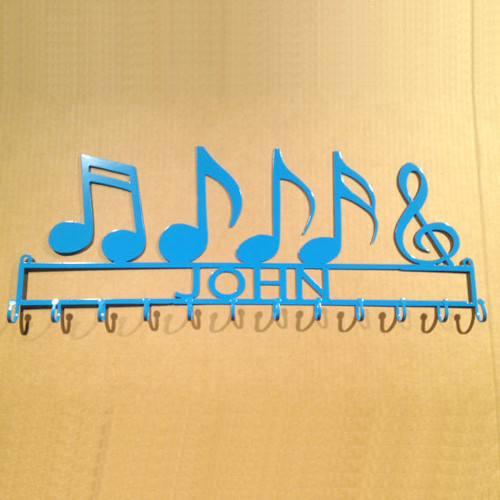 Medal Holder with Music Notes and Personalized Text Field (H30)