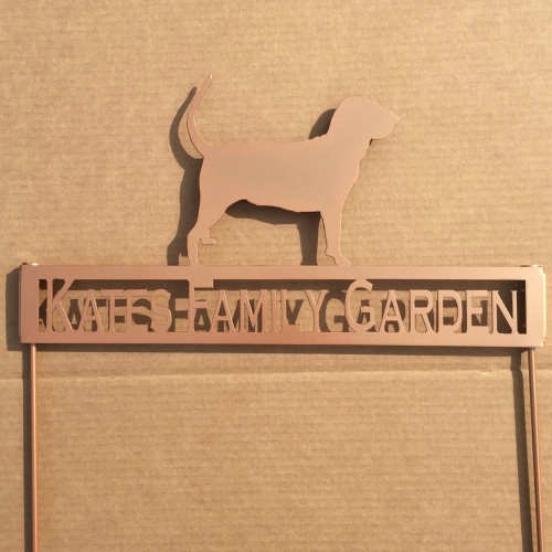 Bloodhound Metal Garden Stake with Personalized Text Field