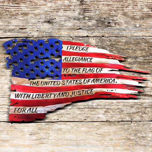 American Flag with Pledge of Allegiance (A32)