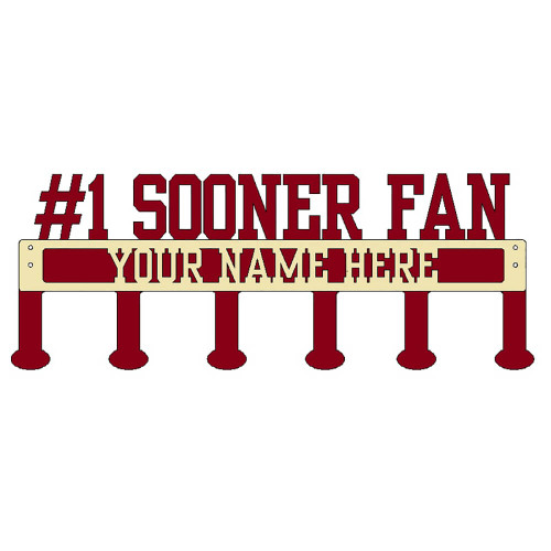 #1 Sooner Fan Coat/Hat Rack with Personalized Text  (B47)