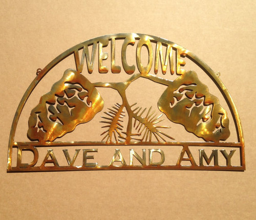 Personalized Welcome Sign with Pine Cones (W4)