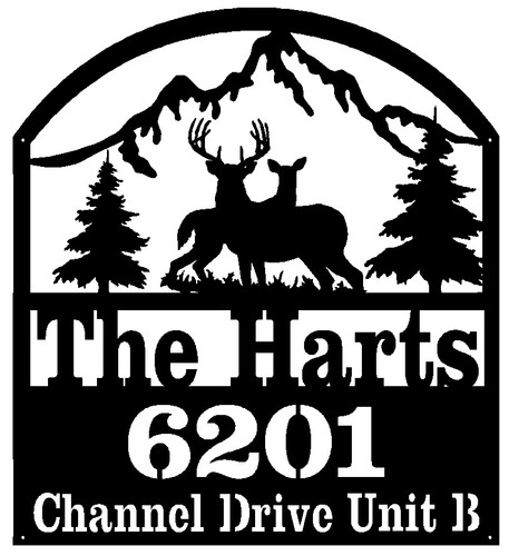 Deer Address Sign with 3 lines of text (D31)