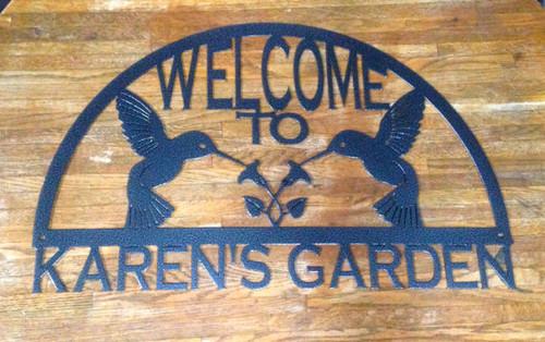 Hummingbird Garden Welcome Sign (F15)