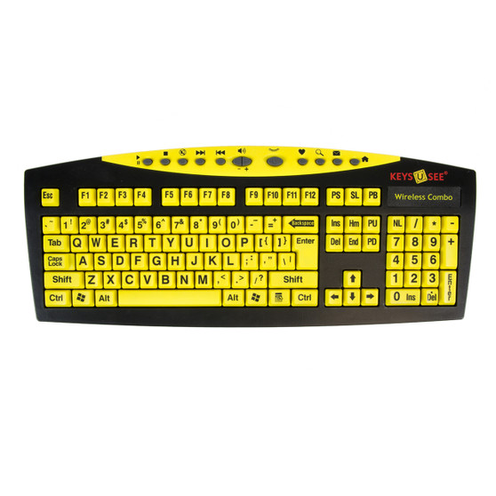 Grootletter toetsenbord en muis Keys-U-See zwart op geel draadloos