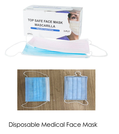 Disposable Face Mask 3 ply 50 count