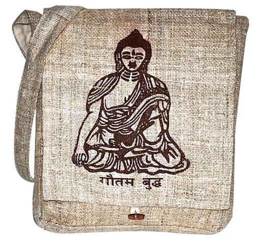 Buddha screen print on hand woven Hemp from Nepal