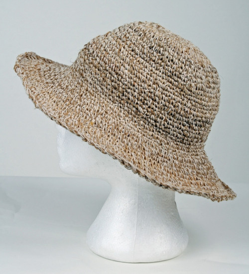 As Shown -  Hemp Hat Crocheted 60% hemp 40% cotton with bendable wire brim,  natural color with secret pocket on inside top. Hand made in Nepal