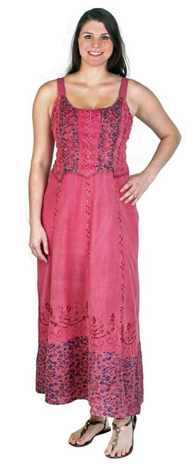 Long Rayon Dress with beautiful lace and patch work
