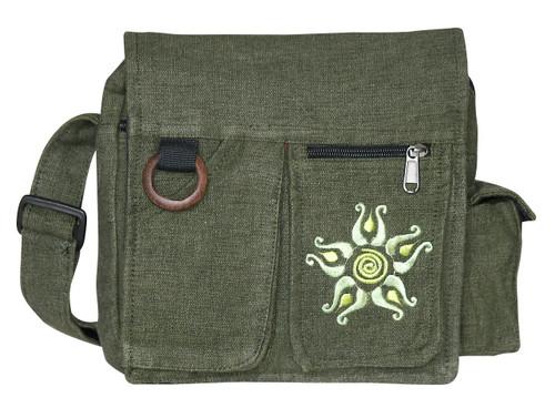 """MJ-10  -  6 Pocket Sol Hand Bag Assorted Colors 12"""" x 11"""""""