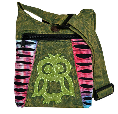 """X4-11  -  Small Owl Hand Bag Assorted Colors 8"""" x 9"""""""