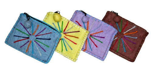 """H9-2  -  Wool Coin Purse Assorted Colors 6"""" x 5"""""""