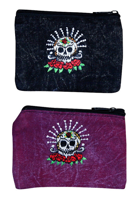 """S7-CP  -  Skull and Roses Coin Purse 6"""" x 4"""""""