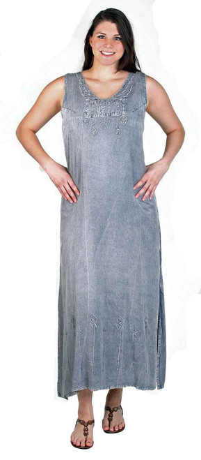 Long Rayon Dress with subtle embroidery