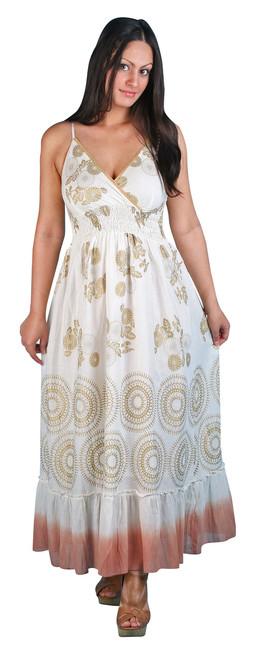 LM-08  -  Long Gold Printed Harem Dress