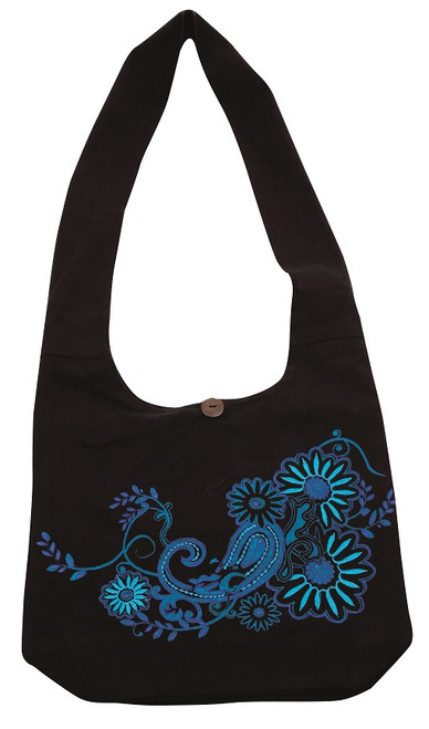 Barrel Bag with beautiful paisley 2 tone embroidery - zipper close