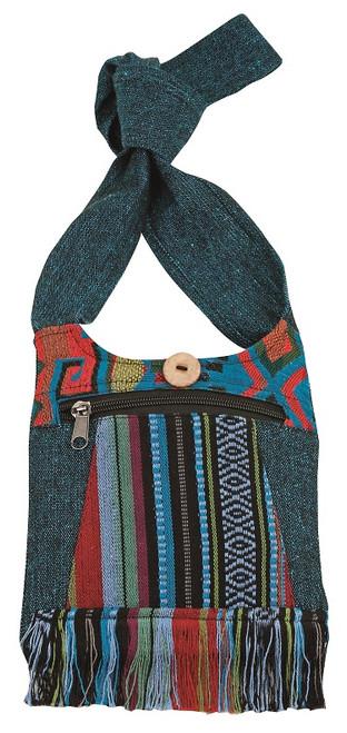 Small bag with beautiful Nepali Fabric - zipper pocket and zipper close