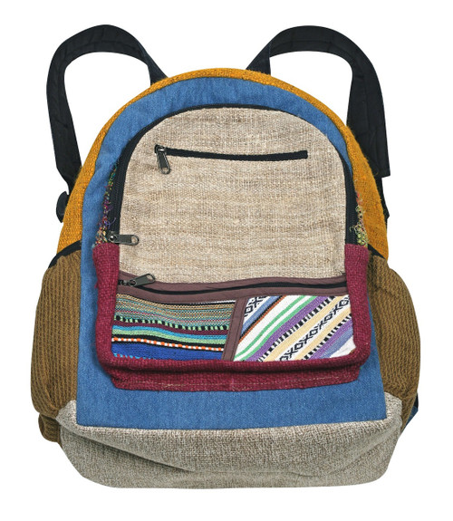Hemp Back Pack with assorted patchwork. Sturdy straps and every design Unique