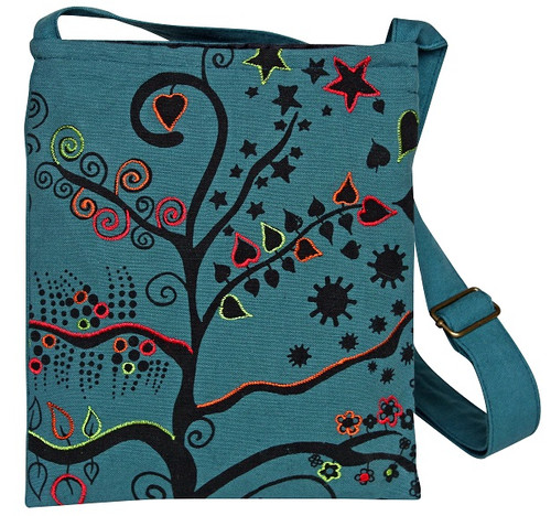 Small flap bag with cool block print and spring embroidery.