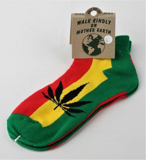 Rasta Tennis Socks with Leaf