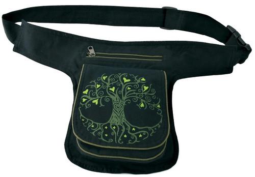 Hip Bag with Flap and metalic closure. Block Print Tree of Life. 3 zipper pockets