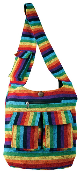 Cotton woven Rainbow Barrel bag. 2 front pockets, cell pocket, zip pocket, zipper close