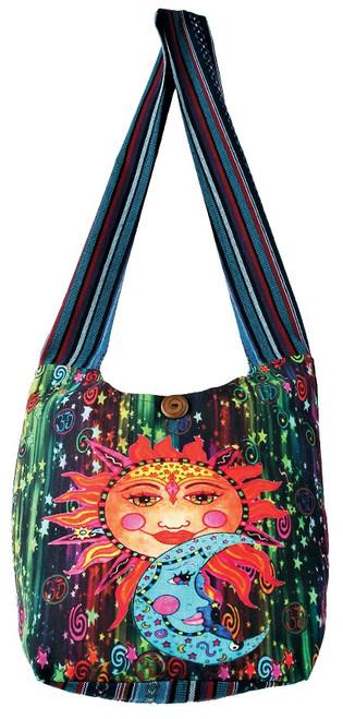 Barrel Bag with Sun/Moon Screen Print. Zipper close, zipper inside pocket