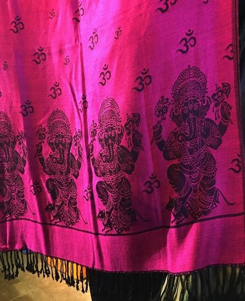 Beautiful double sided (reversable) Ganesh Scarf. Made in Varanasi India