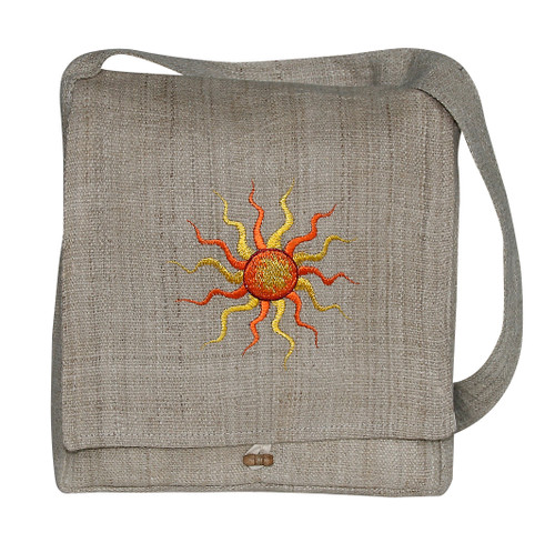 Woven Hemp Bag w/ Flap - Sun Embroidery - zipper pocket