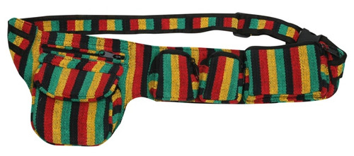5 pocket adjustable Rasta woven belt