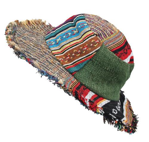 Patchwork Festival Hat with secret pocket inside top