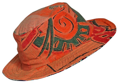 Cotton reversible hat with wire brim. Rice Bag Material print
