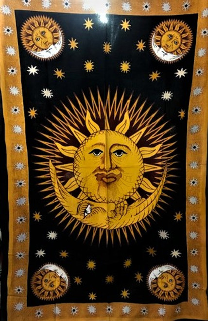 "Sun/Moon Tapestry - 100% cotton single size 51"" x 87"""