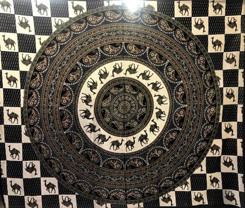"Camel Mandala - Double Tapestry - 100% cotton - size 95"" x 85"""