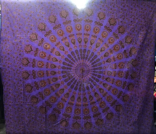 "Purple Mandala - Double Tapestry - 100% cotton - size 85"" x 90"""