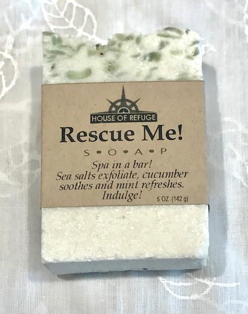 Natural Hand Made Soap - Rescue Me - sea salts exfoliate, cucumber, mint