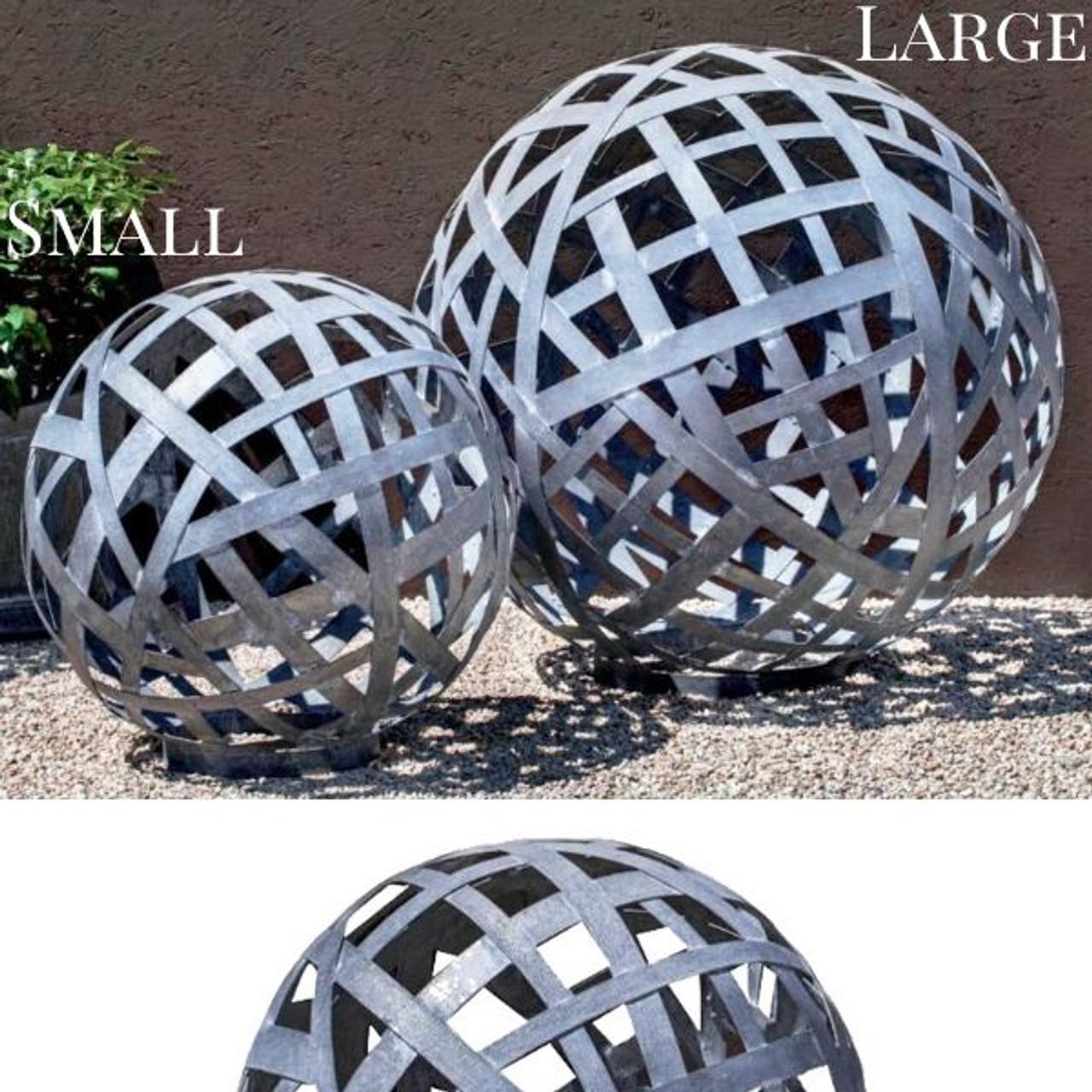 Zinc Garden Spheres Woven Steel Sculptures