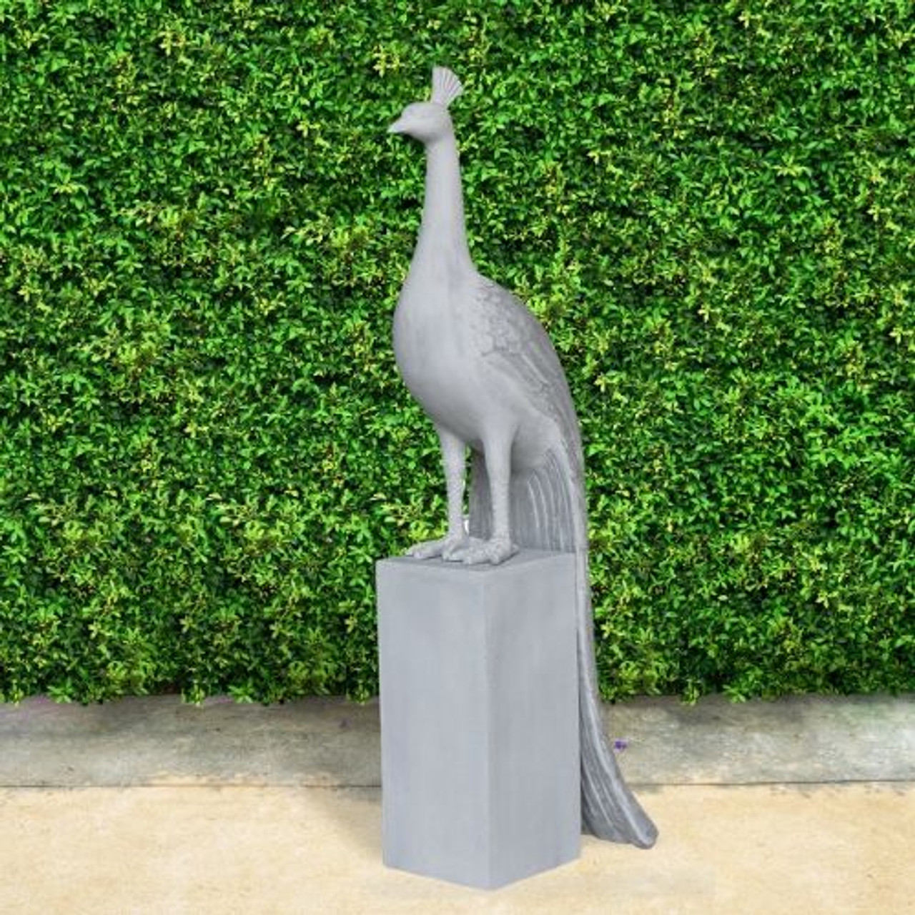 Glamorous Peacock And Pedestal Outdoor Art Polystone Garden Statuary