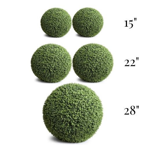 Artificial Boxwood Globes | UV Resistant - Set of (2)