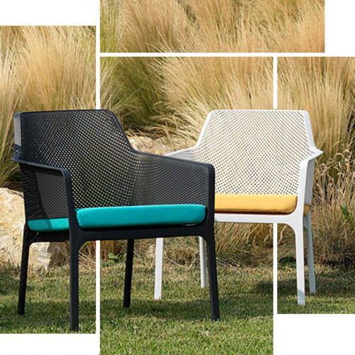 Net Relax chairs in White or Black shown with cushions