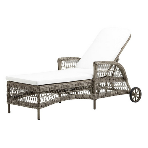 Antique Finish Daisy Sunbed Chaise with Polyester Cushion
