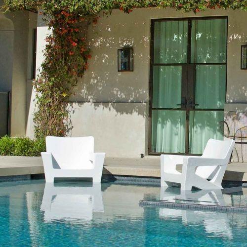 The Ledge Lounger Alternative CostaRondack White Chairs on Tanning Ledge