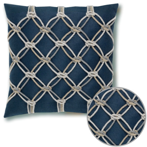 Elaine Smith Rope Indigo Pillow