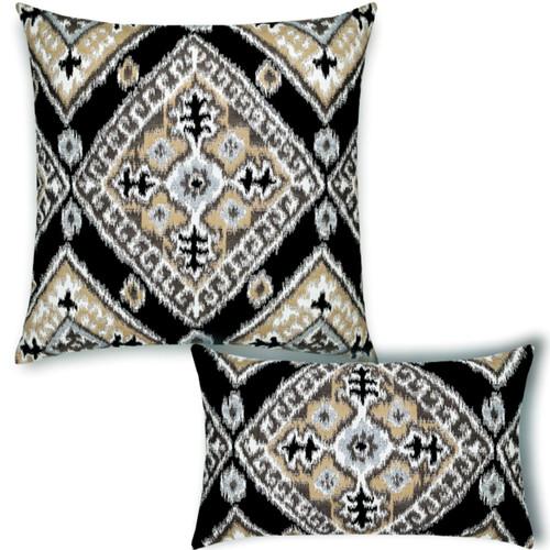 Ikat Diamond Onyx Pillow Set